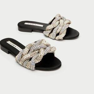 Zara Gem Encrusted Braided Slides Sandals